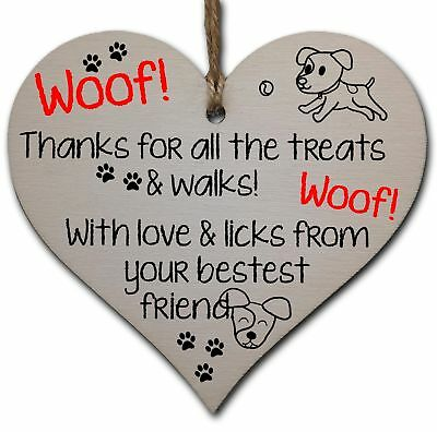 Handmade Wooden Hanging Heart Plaque Gift for Dad this Fathers Day Dog Novelty F