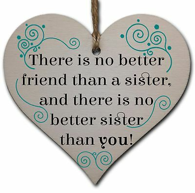 Handmade Wooden Hanging Heart Plaque Gift Perfect for Sisters Lovely Friendship
