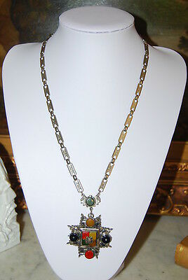 Vintage Silver Toned Metal Chain & Cross Medal Pendant With Stones Long Necklace
