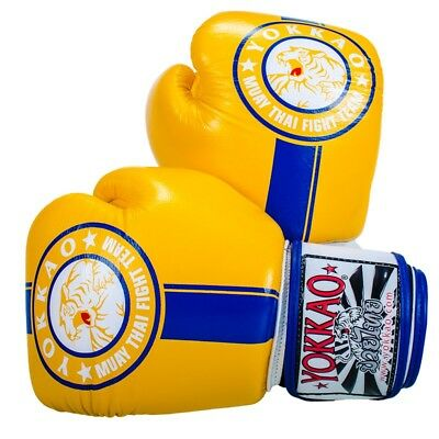 Yokkao Official Fight Team Boxing Gloves Yellow Blue Muay Thai K1 Boxing Train
