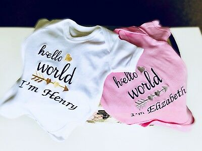 Hello World Personalised Baby Vest, Bodysuit,Grow Newborn Girl Boy Going Home