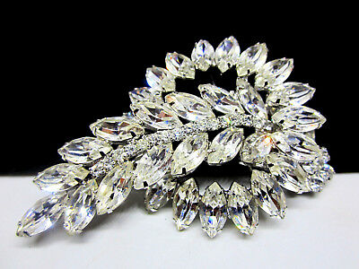"Huge Rare Vintage 3-1/2"" Rhodium Plated Clear Rhinestone Brooch Pin A78"