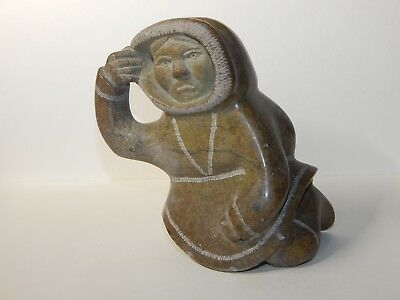 Inuit art soapstone sculpture carving, HUNTER, restored hand, signed 1976, 5x3x3