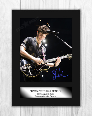 Shawn Mendes A4 signed mounted photograph picture poster. Choice of frame.