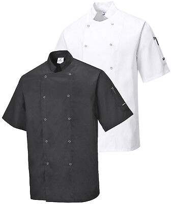 PORTWEST Cumbria Chefs Jacket Food Industry Catering Chef Lightweight C733