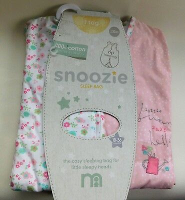 New Snoozie baby sleeping bag 18-36 months 1 tog Mothercare pink bunny sleep bag