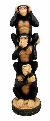 """See Hear Speak No Evil Monkeys Stacking Wise Apes Figurine 8"""" Height Resin"""