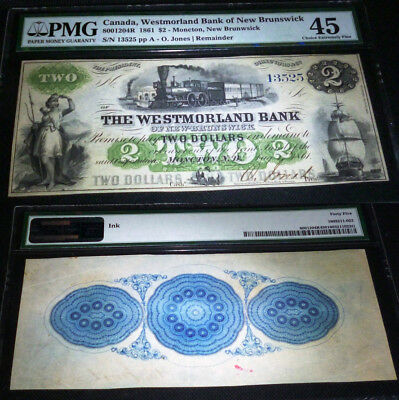 Westmorland Bank of New Brunswick, 1861 $2 PMG 45 , SCARCE IN THIS CONDITION