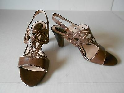 c6910f1aad257a Naturalizer N5 Grazie Comfort Brown Leather Strappy Slingback Sandals Heel  6.5 M