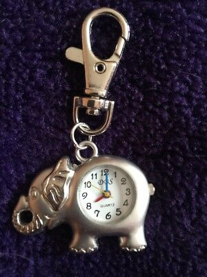 Elephant Keyring Time Watch Trunk Up Clip On Small Silver Look