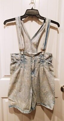 Vintage 80's IIT 8.0 Acid Washed Overall/Suspender High Waist Pleated Shorts L