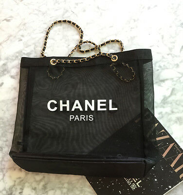 CHANEL CC Black Large Mesh Tote Beach Travel Bag With Gold Chain Beauty VIP Gift