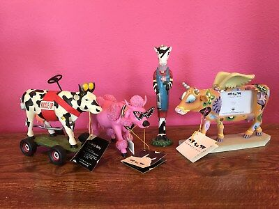 LOT of (3) Cow Parade Figurines French Moodle, Buckle Up Betsy, Angelicow Frame