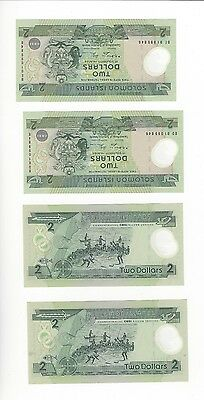 Solomon Islands 2 Dollars Comem  Two Notes Same Serial #  Pair Nice Unc