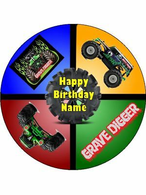 Grave Digger 19cm Edible Cake Topper Icing Image Birthday Decoration #5