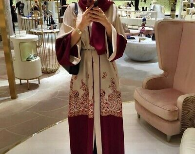 Islamic Red Print Robe Kaftan Abaya Muslima Dress Arab Cardigan Robe 6 8 10 12