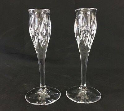 "Pair Of Crystal Candlestick Holders 6 3/4"" Tall"