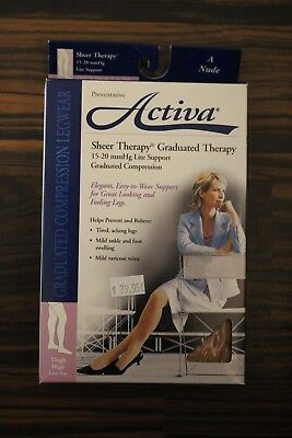 Activa Sheer Compression Thigh High Stocking Lace Top Open Toe 15-20 mmHg Nude A