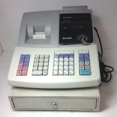 Sharp XE-A203 Electronic Digital LED Cash Register W/ 4 Keys & Partly Used Roll