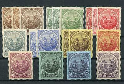 Barbados 1916-19 set + all listed shades bar 1 SG181/91+ MM cat £233