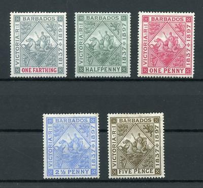 Barbados 1897 Diamond Jubilee short set to 5d SG116/10 MM cat £91