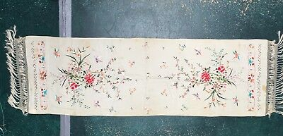 antique silk scarf, embroidered flowers