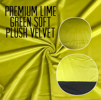 Premium LIME GREEN Soft Plush Velvet Upholstery Fabric Material Curtains Cushion