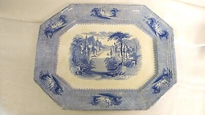 """Antique J. Clementson Siam Blue And White Ironstone Transferware Platter 18""""x14"""""""