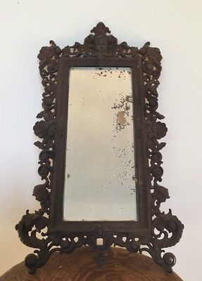 Antique Cast Iron C19th Bevelled Mirror Victorian 19th Century Coalbrookdale