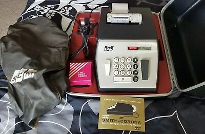 Smith-Corona 890 Adding Machine with Cover, Case, and Paper