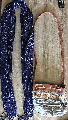 Lot Of 2 Girls Accessories; Aztec Print Draw String Purse Navy Blue Silver Scarf