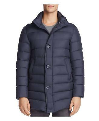 $2495 HERNO Mens Blue DOWN PARKA QUILTED JACKET WINTER COAT Italy US 46 EU 56