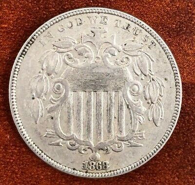 1868 US 5 Cents Shield Nickel With Beautiful Details! Great Type Coin! #SS203