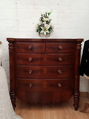 Superb Antique Mahogany Bow Front Chest Of Drawers - C1860