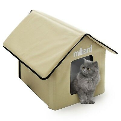 Milliard Outdoor Cat House for Pet Kitty or Puppy Portable Bed Cave 22 x 18 x 17