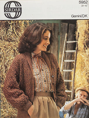 Sirdar Knitting Pattern 5952 Ladies Textured Shawl Collar Jacket 32