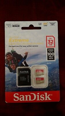 New SanDisk SDSQXAF-032G-GN6AT 2 x 32 GB Extreme Micro SD Card with Adapter
