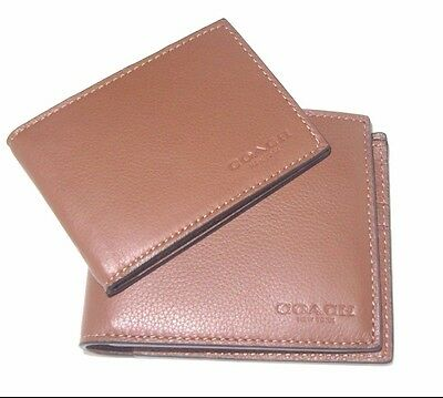 Coach Men's Compact ID Sport Calf Dark Saddle Leather Wallet F74991 NWT $175