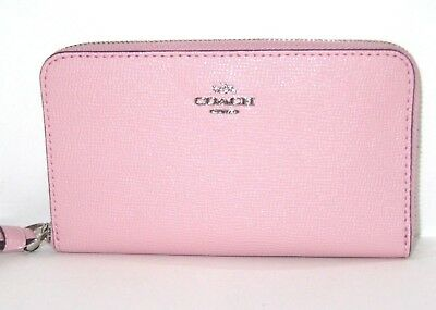 Coach F58053 Zip Around Phone Wallet Blush Pink Leather Wristlet NWT $165
