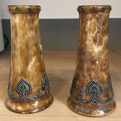 Pair Of Royal Doulton Art Nouveau Vases Incised Number 6890