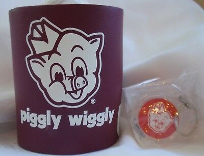 PIGGLY WIGGLY Grocery Food Store - DRINK Can COOZIE & KEY CHAIN -Both New/Unused