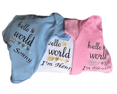 39f1db5a7 HELLO WORLD PERSONALISED Baby Vest