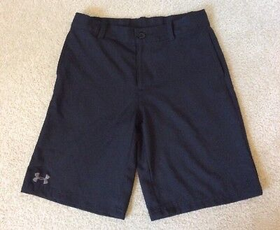 Boys Under Armour Loose Fit Golf Shorts Adjustable Waistband Black And Gray YMD