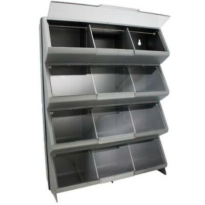 Plastic Shelves Racks 12bin Home Organizer Storage,Garage Nails  Silver,,Box,NEW