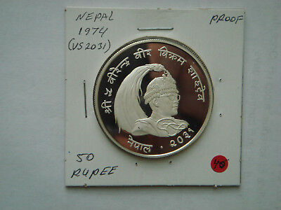 1994 NEPAL Silver(35g.,.925 Silver) 50 RUPEE in PROOF Condition.