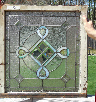 antique American STAINED Leaded GLASS Window w/ JEWELS & BEVELS *C*