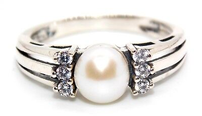 Sterling Silver 7mm Fresh Water Pearl And White Topaz Ring (925) Size 7 (N)