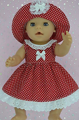 """Play n Wear Doll Clothes To Fit 17"""" Baby Born  RED POLKA DOT DRESS~HAT"""