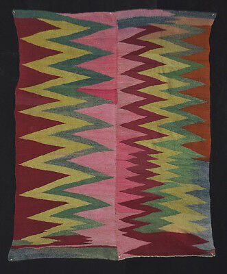 PHENOMENAL & GORGEOUS WEDGE-WEAVE Navajo-like ART Antique Andean Blanket TM12954