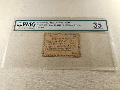 June 18, 1776 Massachusetts Colonial Note 2 Shillings 6 Pence PMG Choice VF 35